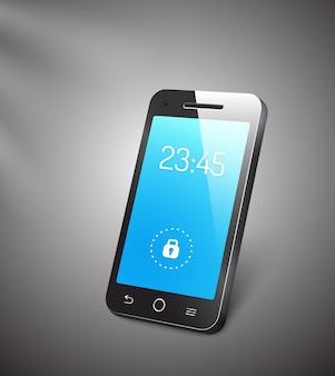Celular ou smartphone 3d com tela azul mostrando as horas e um símbolo de cadeado d