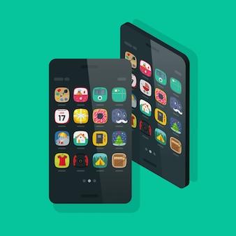 Celular ou telefone móvel isométrica e vista frontal com ícones da área de trabalho em tela plana dos desenhos animados