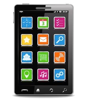 Celular preto moderno com ícones quadrados na tela