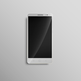 Celular touchscreen branco moderno.
