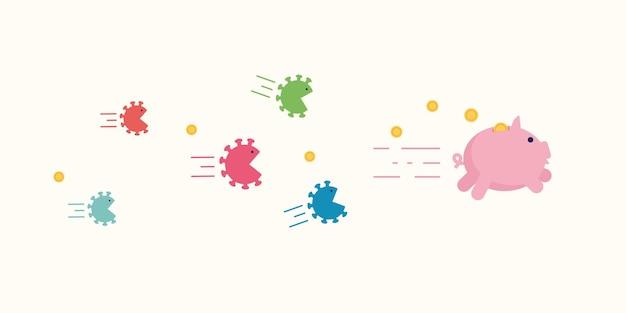 Células de coronavírus furiosas perseguem o cofrinho tentando frear e comê-lo.
