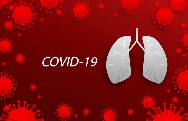 Células de vírus ao redor do pulmão em fundo vermelho, com espaço de cópia. covid-19, coronavírus, 2019-ncov. controle e proteção de vírus.
