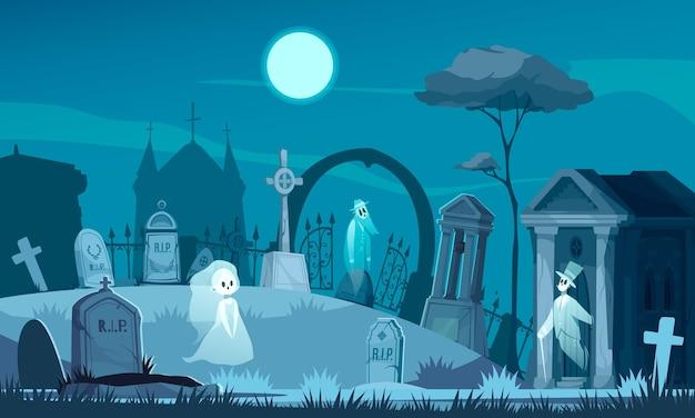 Cemitério assombrado com ilustração de túmulos antigos