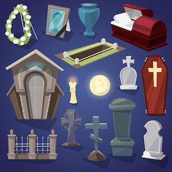 Cemitério assustador cemitério e horror de halloween no conjunto de ilustração de noite de sepultura assustador ou túmulo e lápide isolado no fundo