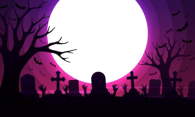 Cemitério assustador com sepulturas
