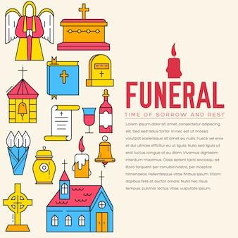 Cemitério com diferentes túmulos e pequena igreja cristã em dia ensolarado.