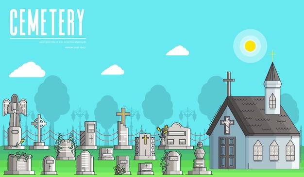 Cemitério com diferentes túmulos e uma pequena igreja cristã em um dia ensolarado