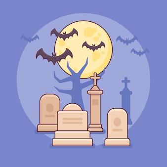 Cemitério da noite com design de linha plana de sepulturas, lua e morcegos.