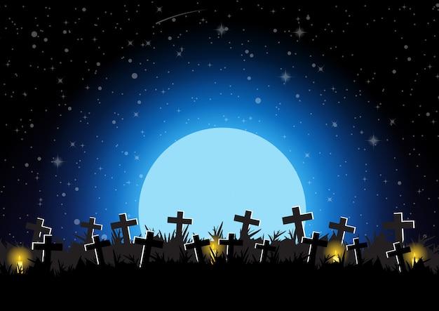 Cemitério de halloween com ilustração em vetor fundo lua