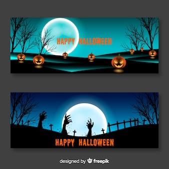 Cemitério de mão zumbi e banners de halloween abóbora