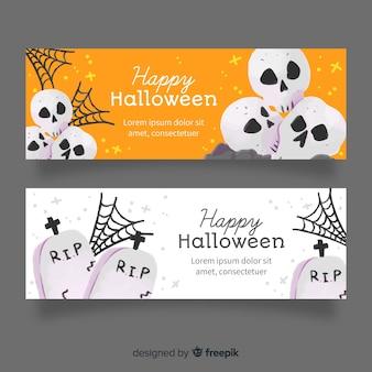 Cemitério e crânios aquarela banners de halloween