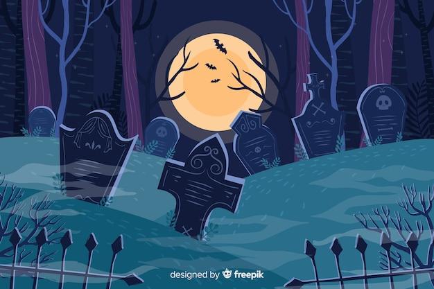 Cemitério em um fundo de dia das bruxas lua cheia