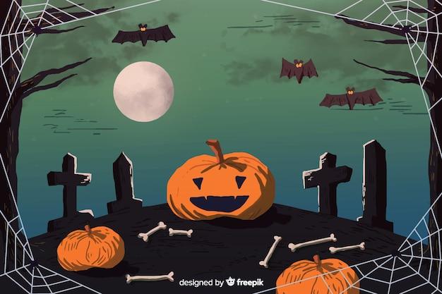 Cemitério em um fundo de halloween de lua cheia