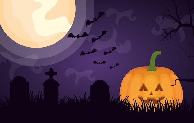 Cemitério escuro de halloween com abóbora