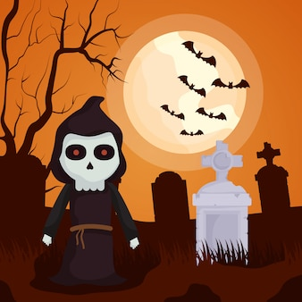 Cemitério escuro de halloween com caráter de morte