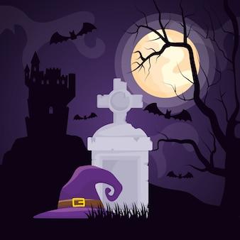 Cemitério escuro de halloween com chapéu de bruxa