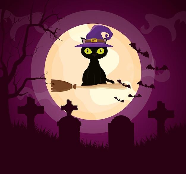 Cemitério escuro de halloween com gato