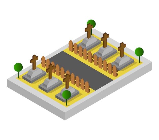 Cemitério isométrico