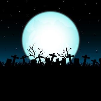 Cemitério na noite de halloween.
