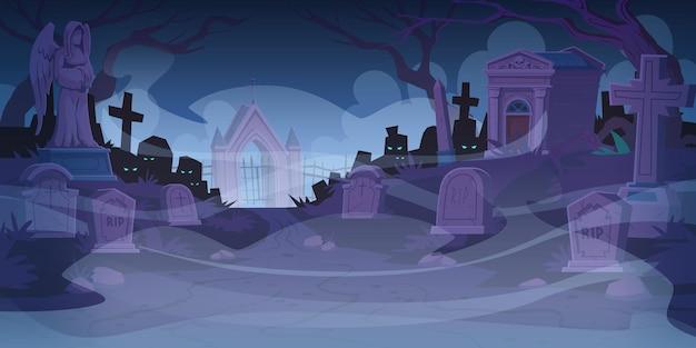 Cemitério noturno com lápides no meio do nevoeiro