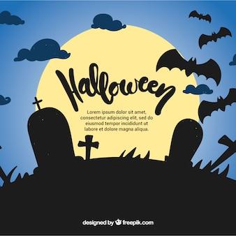 Cemitério tranquilo por noite fundo para halloween