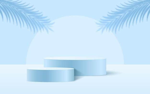 Cena 3d de pedestal azul suave com fundo de ornamento de folhas de palmeira