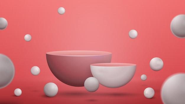 Cena abstrata com pedestais semicirculares vazios com esferas saltando realistas ao redor. cena para apresentação de seu produto