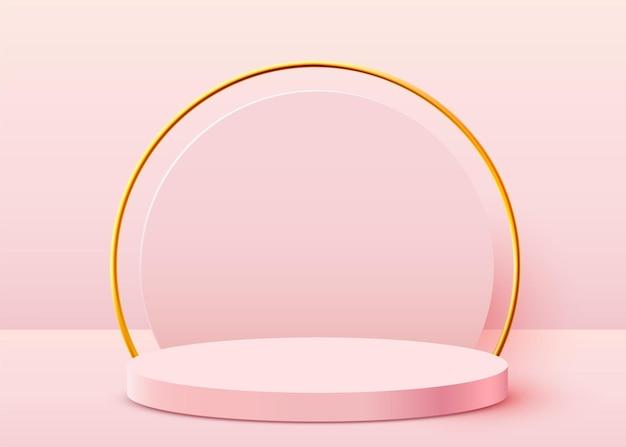 Cena abstrata fundo do pódio do cilindro na apresentação do produto de fundo mock up mostra pedestal ou plataforma do pódio do produto cosmético