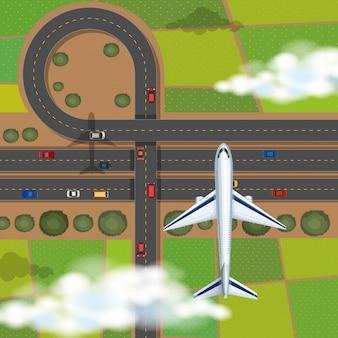 Cena aérea, com, avião, voando, em, a, céu