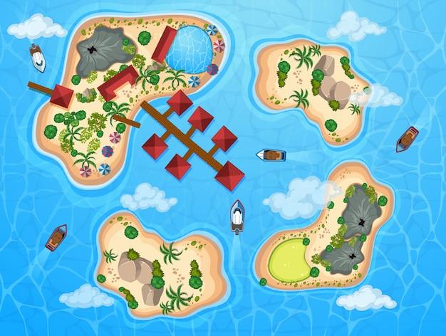 Cena aérea com muitas ilhas e barcos