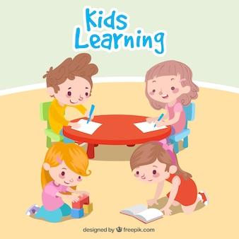 Cena agradável de crianças aprendendo