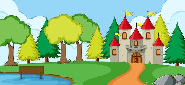 Cena ao ar livre com castelo no parque natural