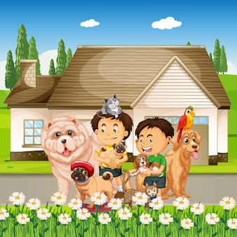 Cena ao ar livre com grupo de animais de estimação e crianças