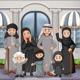 Cena ao ar livre com membro da família árabe