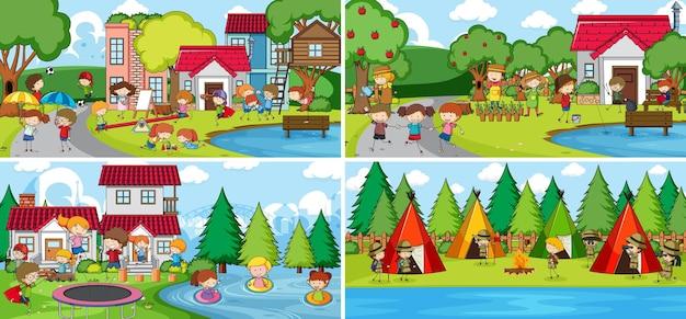 Cena ao ar livre com muitas crianças doodle personagem de desenho animado