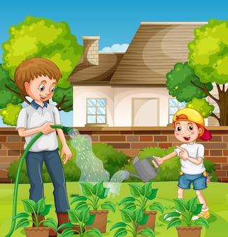 Cena ao ar livre com pai e filho regando uma planta no jardim
