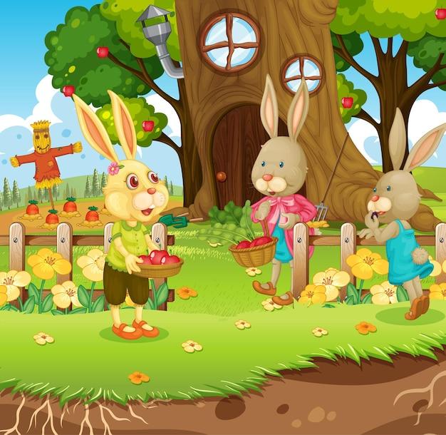 Cena ao ar livre com uma família de coelhos feliz no jardim