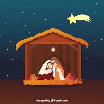 Cena bonita da natividade com estrela cadente