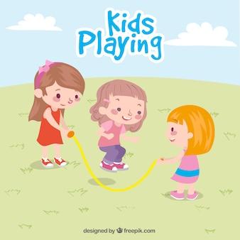 Cena bonita de três meninas jogando
