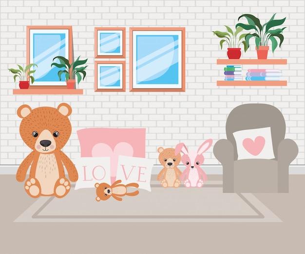 Cena bonita do quarto da cama do bebê