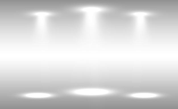 Cena branca com holofotes. ilustração.