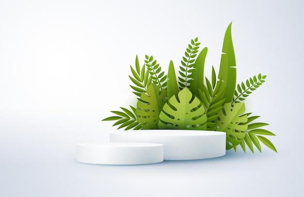 Cena branca mínima com formas geométricas e folhas de palmeira tropical verdes cilíndrico pódio 3d palco monocromático para exibição de um produto cosmético monstera e folha de palmeira
