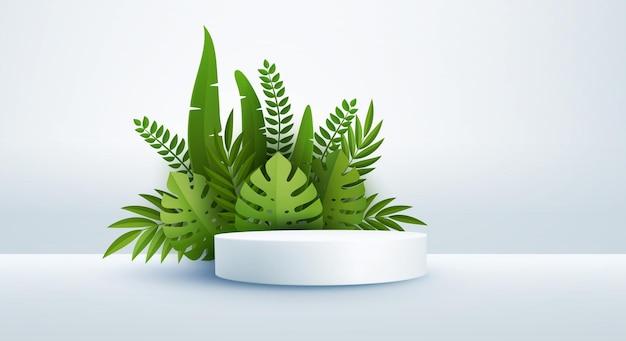 Cena branca mínima e folhas de palmeira tropical verdes pódio cilíndrico em fundo branco 3d monocromático para exibir uma vitrine de produtos cosméticos monstera e folha de palmeira