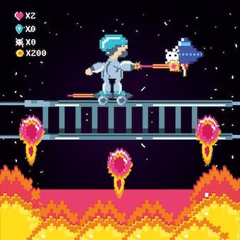 Cena clássica de videogame com guerreiro e chamas