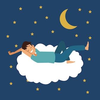 Cena colorida da noite com o homem dormir na nuvem com lua e estrelas