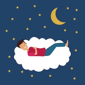 Cena colorida da noite com o rapaz dormem na nuvem com a lua e as estrelas