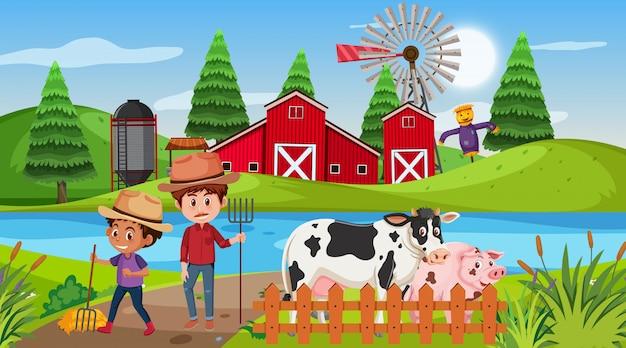 Cena com agricultores e animais na fazenda