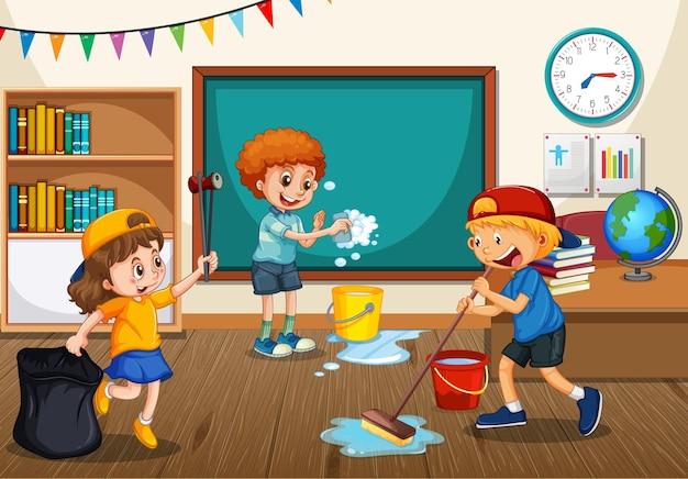 Cena com alunos limpando a sala de aula juntos