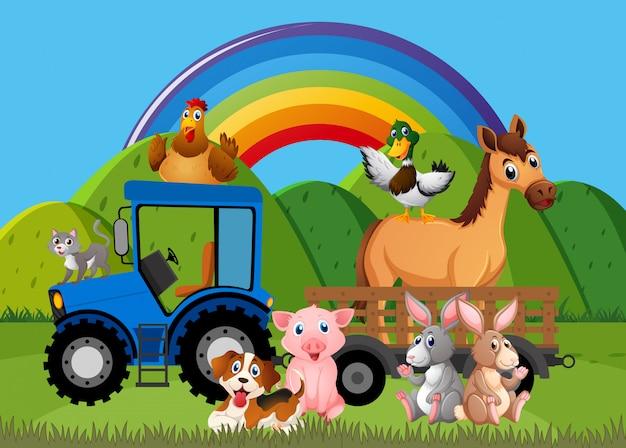 Cena com animais da fazenda na fazenda