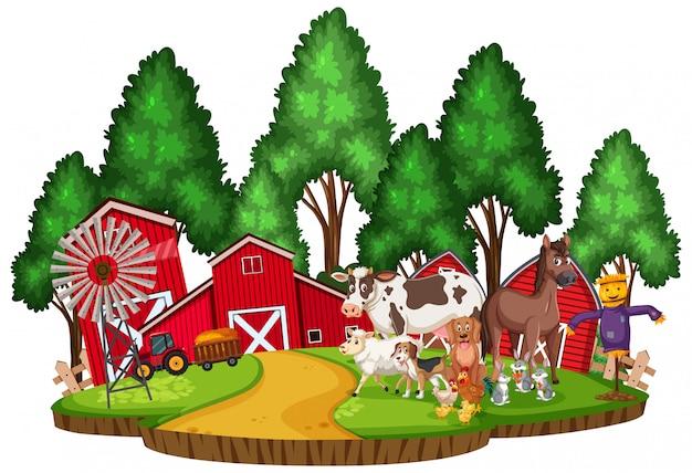 Cena com animais de fazenda no curral
